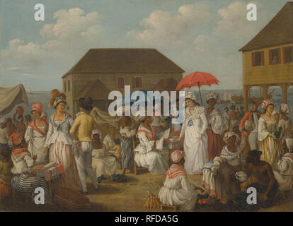 Linen Market, Dominica. Date/Period: Ca. 1780. Painting. Oil on canvas. Height: 498 mm (19.60 in); Width: 686 mm (27 in). Author: AGOSTINO BRUNIAS. - Stock Photo