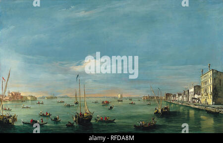 View of the Giudecca Canal and the Zattere. Date/Period: Between ca. 1757 and ca. 1758. Painting. Oil on canvas. Height: 72.2 cm (28.4 in); Width: 119.3 cm (46.9 in). Author: FRANCESCO GUARDI. - Stock Photo