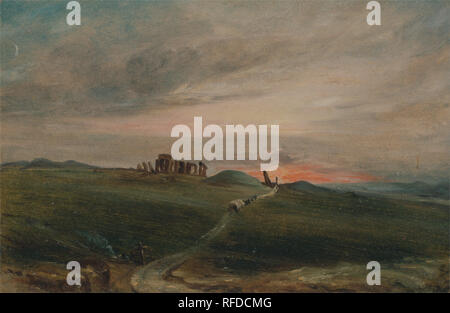 Stonehenge at Sunset. Date/Period: 1836. Painting. Oil on paper on board. Height: 191 mm (7.51 in); Width: 284 mm (11.18 in). Author: John Constable. - Stock Photo