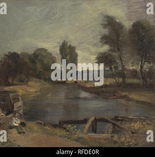 Flatford Lock. Date/Period: Between 1810 and 1811. Painting. Oil on paper on canvas. Height: 368 mm (14.48 in); Width: 368 mm (14.48 in). Author: John Constable. - Stock Photo