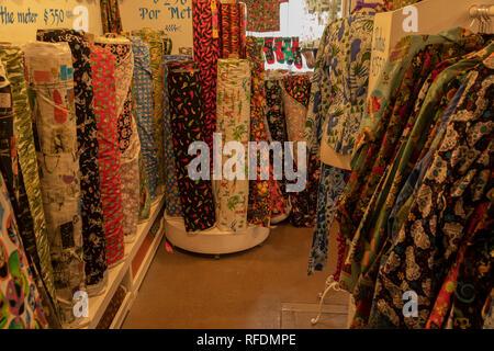 Fabric shop in San Miguel de Allende, central Mexico. - Stock Photo