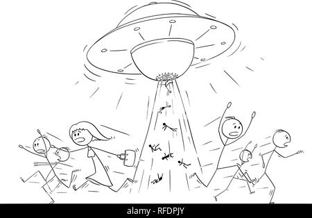 Cartoon Drawing of Crowd of People Running in Panic Away From UFO or Alien Ship Abducting Human Beings - Stock Photo