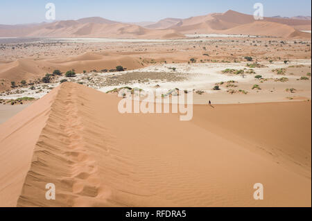 The otherworldly dunes and desert landscapes of Namib-Naukluft National Park make a beautiful day trip from Sesriem camp on the edge of the Namib - Stock Photo