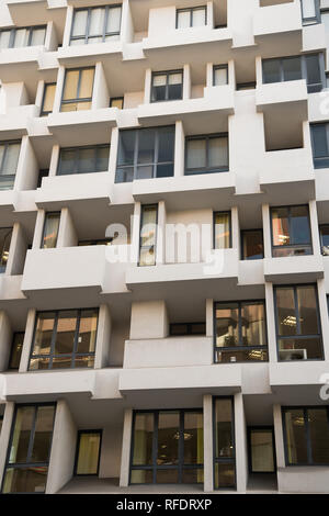 Barcelona, Spain - March 30, 2016: building facade with windows. Apartment house or residential real estate. Modern architecture and structure. Style and design. Barcelona houses. - Stock Photo