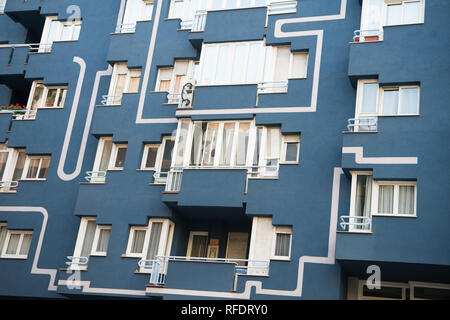 Barcelona, Spain - March 30, 2016: apartment building facade closeup. Modern architecture and structure. Residential real estate. Barcelona. Travelling and wanderlust - Stock Photo