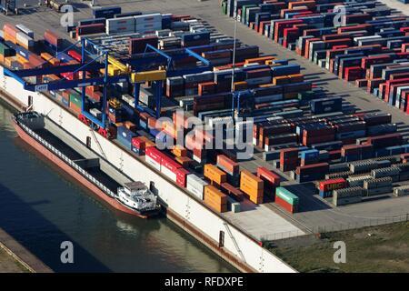 Container port, Logport, Dusiburg, North Rhine-Westphalia, Germany - Stock Photo
