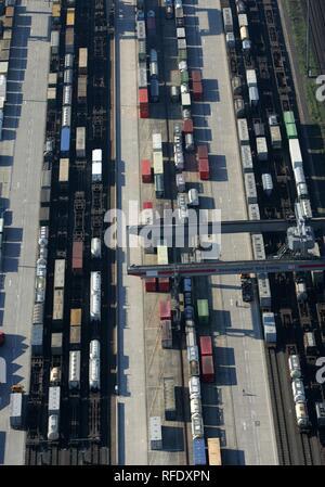 Container terminal, Cologne-Eifeltor, North Rhine-Westphalia, Germany - Stock Photo