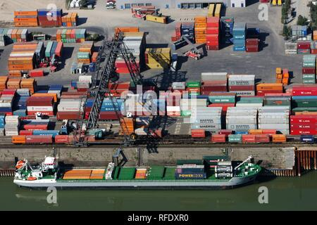 Container port, Rhine, Neuss, North Rhine-Westphalia, Germany - Stock Photo
