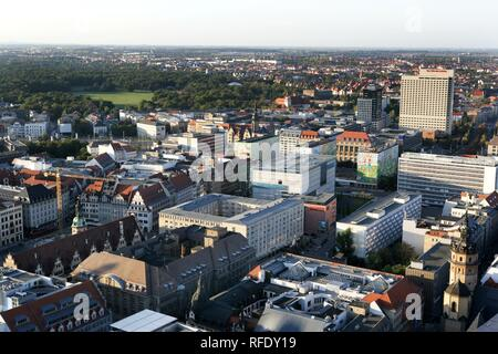 Overview over the City Center, the tower of the Nicolaikirche (in front), multistory buildings am Bruehl - Stock Photo