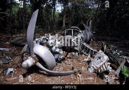 The wreck of a shot down military plane of World War 2, Palau, Micronesia - Stock Photo