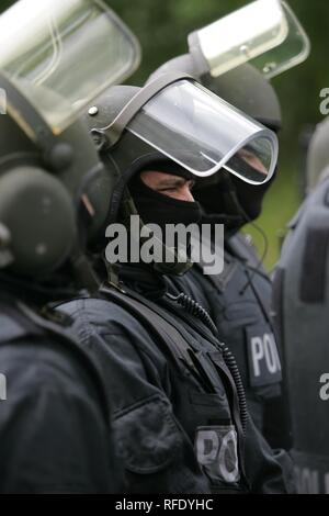 DEU Germany: Exercise of a SWAT Team Hemer on a special police training ground. - Stock Photo