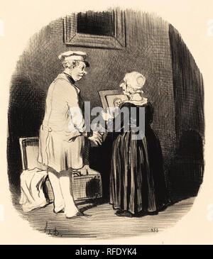 Tiens, ma femme, v'la mon portrait... Dated: 1846. Medium: lithograph. Museum: National Gallery of Art, Washington DC. Author: HONORÉ DAUMIER. Honoré-Victorin Daumier. - Stock Photo