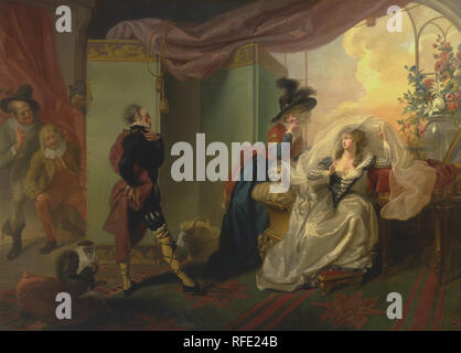 Olivia, Maria and Malvolio from 'Twelfth Night,' Act III, Scene iv. Date/Period: 1789. Painting. Oil on canvas. Height: 157.8 cm (62.1 in); Width: 220.7 cm (86.8 in). Author: Johann Heinrich Ramberg. - Stock Photo