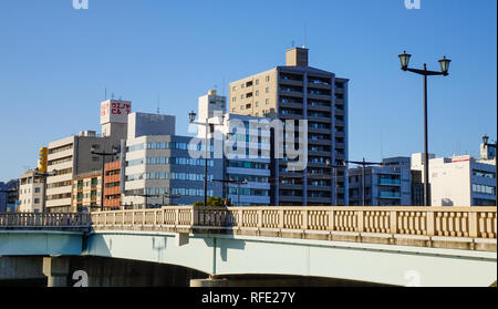 Hiroshima, Japan - Dec 28, 2015. Cityscape of Hiroshima, Japan. Hiroshima was the first city targeted by a nuclear weapon, on August 6, 1945. - Stock Photo