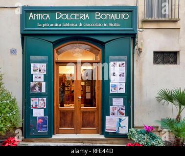 Antica dolceria Bonajuto the oldest chocolate shop in Sicily. Modica Italy - Stock Photo
