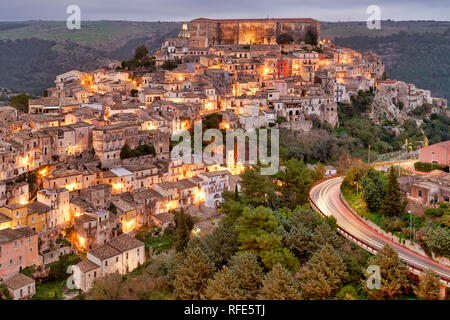 Panorama view of Ragusa Ibla old town at sunset. Sicily Italy - Stock Photo