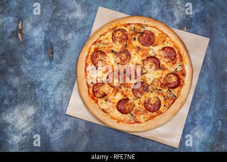 Homemade pepperoni pizza - Stock Photo