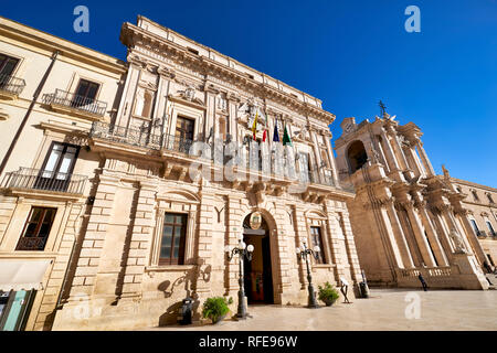 The Town Hall of Syracuse Ortygia. in Piazza Duomo. Sicily, Italy - Stock Photo