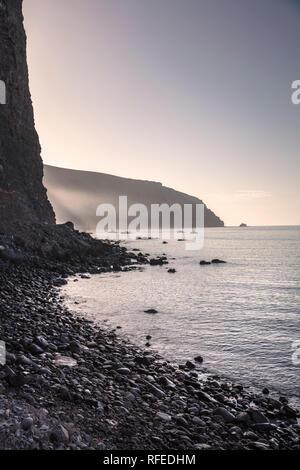 Spain, Canary islands, La Gomera. Valle Gran Rey. Beach called Playa de Vueltas. - Stock Photo