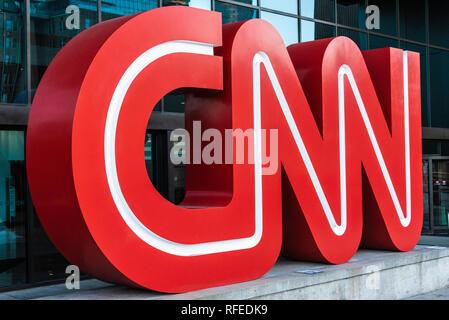 CNN logo signage outside of the CNN Center in Atlanta, Georgia, the worldwide headquarters of CNN. (USA) - Stock Photo