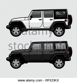 White and Black 4x4 Off Road SUV Side View Illustration in Cartoon Style. Expedition Off Roader Flat Vector. - Stock Photo