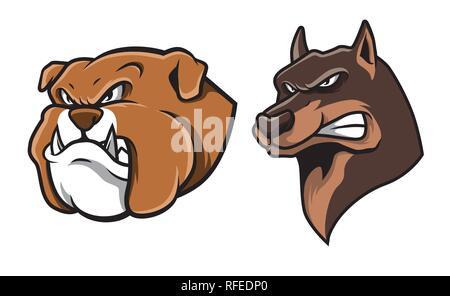 Bulldog and German Shepherd Head  Mascot Illustration Vector - Stock Photo