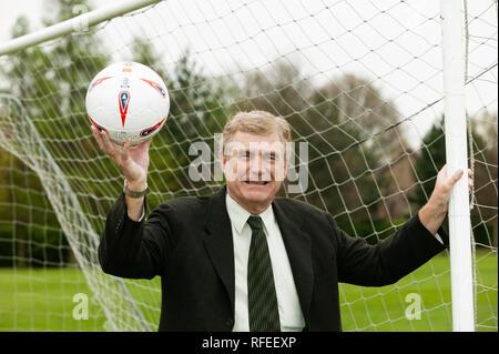Trevor Brooking England international and West Ham footballer West Ham MBE holding football - Stock Photo