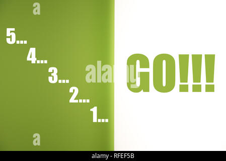 54321 Go Countdown inspirational quote, motivational sentence, start the task, inspiration to action - Stock Photo
