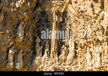 Rock carving detail of the church Sagrada Familia, Antoni Gaudis most famous work, still under construction and planned to be completed in 2026 - Stock Photo