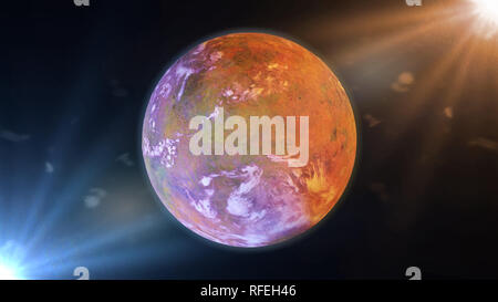 beautiful exoplanet, part of an alien binary star system, alien planet lit by two stars (3d space illustration) - Stock Photo