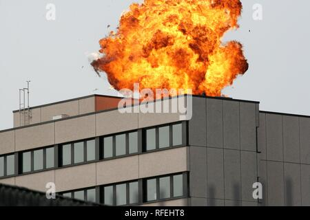 DEU, Germany, Muenster : SWAT team of NRW Police special forces blasting a door of a building.| - Stock Photo