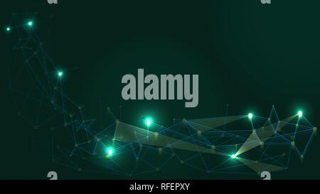Abstract Technology Network Structure Background. Futuristic Plexus Effect Computer Geometric Connection Structure. - Stock Photo