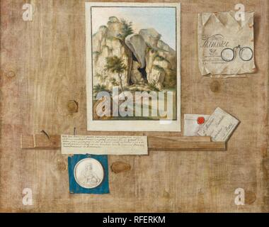 French School, circa 1700 A TROMPE L'IL WITH A PAINTING AND OTHER PAPER ITEMS PINNED TO A WOODEN WALL.jpg - RFERKM0 - Stock Photo