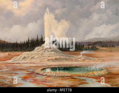 GRAFTON TYLER BROWN (1841-1918) Castle Geyser and Well, Yellowstone (1887).jpg - RFET7B - Stock Photo