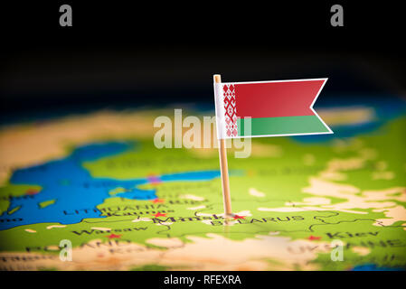 Belarus marked with a flag on the map - Stock Photo
