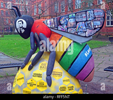 Bee In The City - Sackville Gardens featuring Alan Turing, Gay Village, Canal St, Manchester, Lancashire, England, UK - Stock Photo