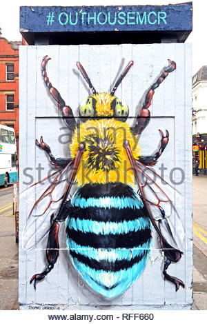 #OutHouseMcr Bee, Stevenson Square, Northern Quarter, Manchester, North West England, UK, M1 - Stock Photo