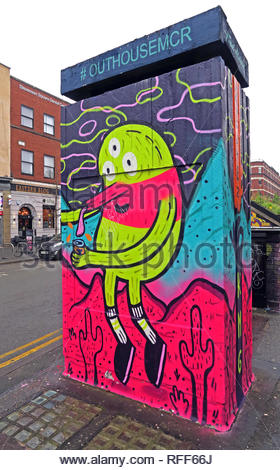 #OutHouseMcr art with cacti, Stevenson Square, Northern Quarter, Manchester, North West England, UK, M1 - Stock Photo