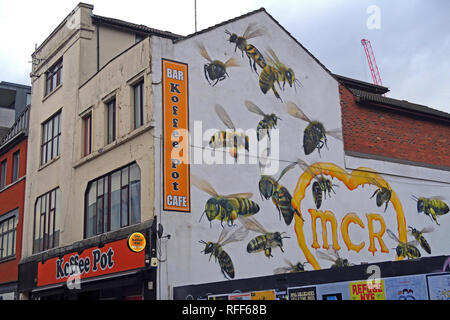 The Koffee Pot cafe,Oldham Street, 22 worker bees representing the 22 people killed, in the Manc Arena bombing,by graffiti artist Russell Meeham,Qubek - Stock Photo