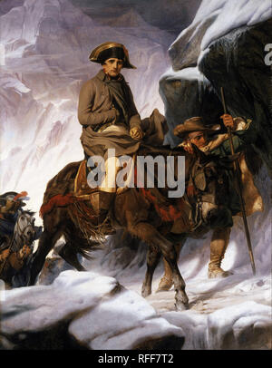 Napoleon Crossing the Alps. Date/Period: 1850. Painting. Oil on canvas. Height: 27,940 mm (30.55 yd); Width: 21,450 mm (23.45 yd). Author: PAUL DELAROCHE. Delaroche, Paul Hippolyte. - Stock Photo