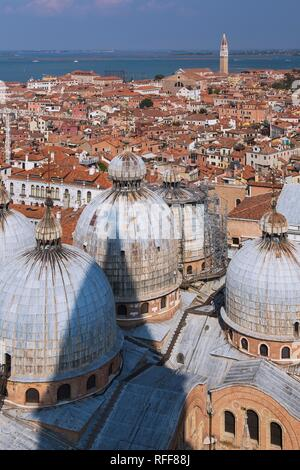 St Mark's Basilica with Romanesque domes and ornate Gothic and Byzantine architectural details plus old Renaissance - Stock Photo