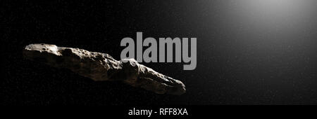 Oumuamua comet, interstellar object passing through the Solar System, unusual shaped asteroid (3d space rendering banner) - Stock Photo