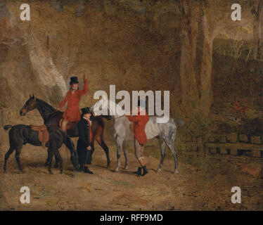 Foxhunting Scene. Date/Period: 1808. Painting. Oil on canvas. Height: 1,016 mm (40 in); Width: 1,270 mm (50 in). Author: Benjamin Marshall. - Stock Photo