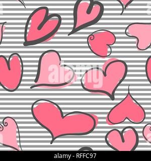 Abstract seamless pattern with hearts and striped background. Valentine hearts with hand draw. Vector illustration - Stock Photo