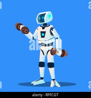 Robots Doing Sports In Gym Vector. Isolated Illustration - Stock Photo