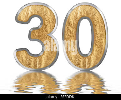 Numeral 30, thirty, reflected on the water surface, isolated on white, 3d render - Stock Photo