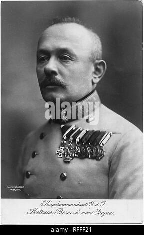 Portrait of K.u.k.Feldmarschall Svetozar Boroević (Borojević) (13 December 1856 – 23 May 1920) was an Austro-Hungarian field marshal who was described as one of the finest defensive strategists of the First World War. He was given Austrian nobility as Baron Boroević von Bojna, and later rising to the rank of Field Marshal before the end of the First World War in 1918. Postcard - Stock Photo