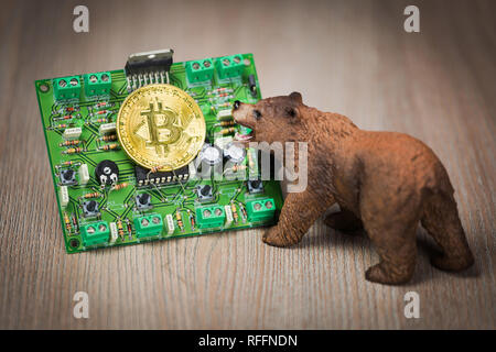Cryptocurrency bitcoin bear figure on a wooden table. Bearish market trend concept - Stock Photo