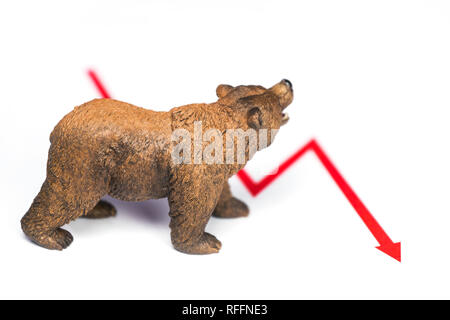 Stock crash with red chart drop and bear figure on white background. Bearish market concept. - Stock Photo
