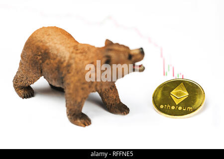 Cryptocurrency Ethereum price crash and drop as a bear trend concept on a white background - Stock Photo
